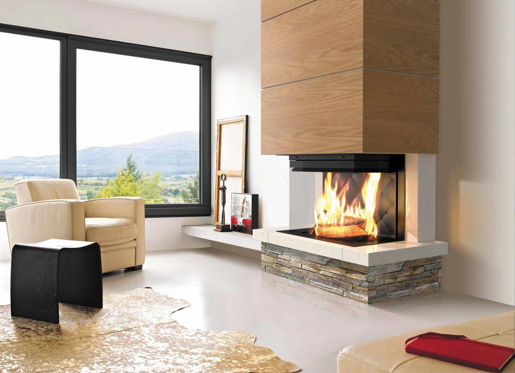 Pour un style campagne tout en modernité, cet alliance de bois et de pierre est comme un bijou à l'état brut pour votre intérieur. Allié à un foyer tri-vision, vous avez une sensation inégalable sur le feu.